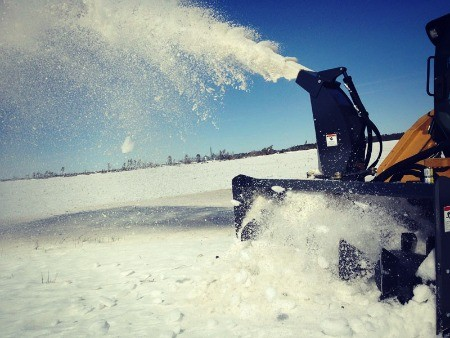 Snow blower in action.